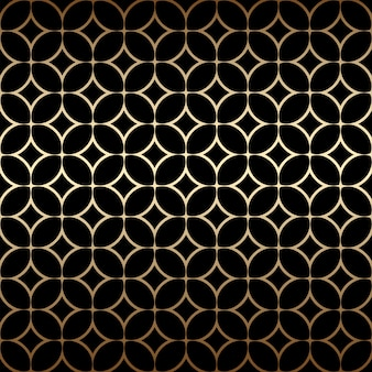 Golden art deco simple seamless pattern with round shapes, black and gold colors