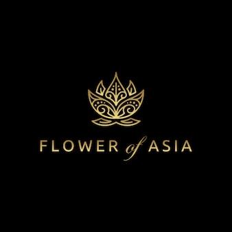 Золотой азиатский лотос цветок дизайн логотипа