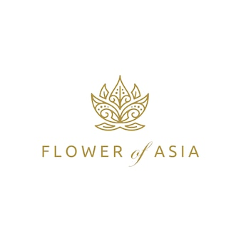 Golden asian lotus flower logo design