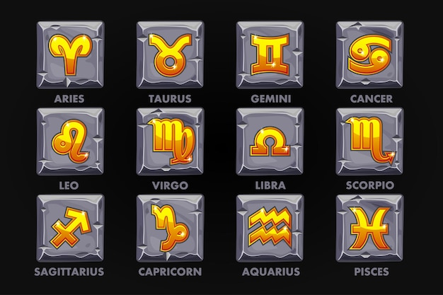 Golden astrology signs on stone button, set 12 zodiac or game design. vector icons on a separate layer