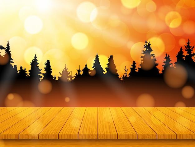 Золотой осенний пейзаж с сосновым лесом и пустым деревенским деревянным столом