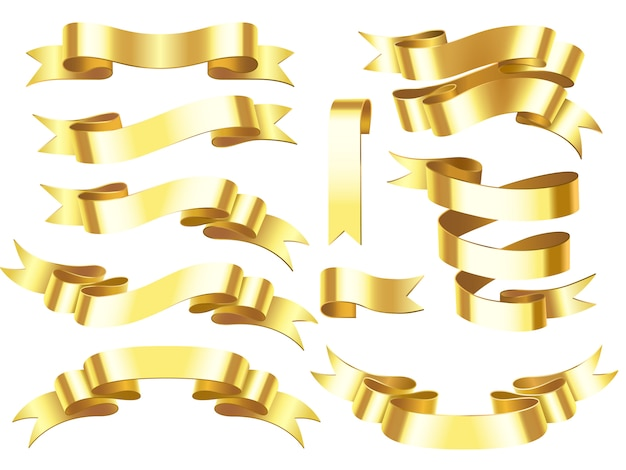 Golden award or celebration horizontal ribbons with scroll isolated illustration