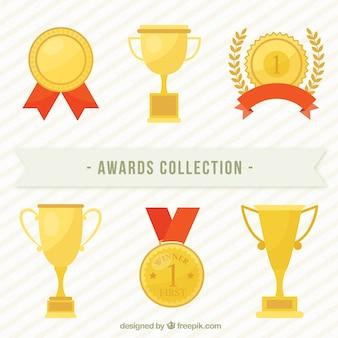 フラットデザインのゴールデン賞コレクション