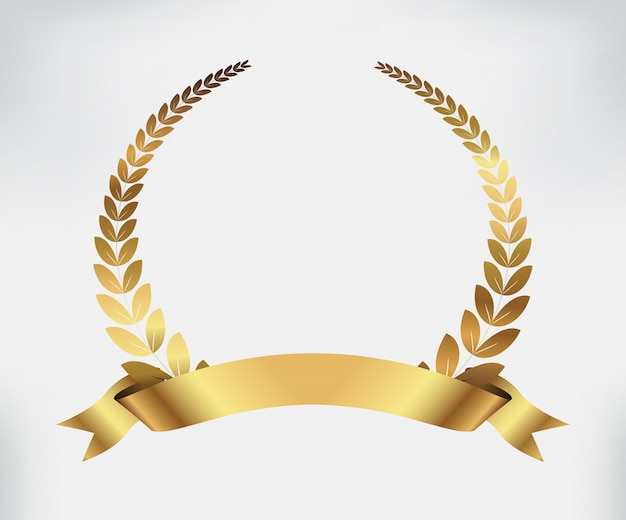 Golden award laurel wreath