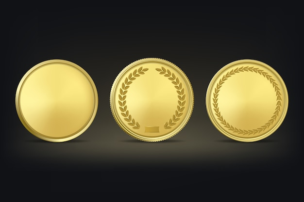 Golden award medals set on black background.