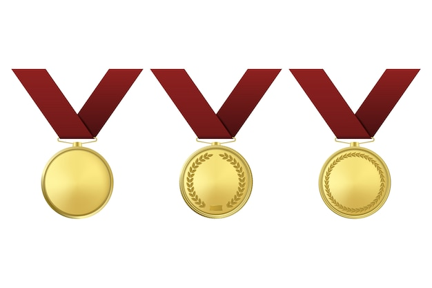Golden award medals set  on white background.
