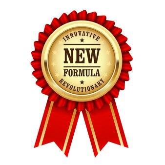 Золотая розетка с надписью революционная новая инновационная формула