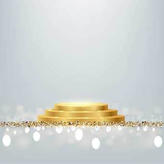 Golden award round podium with shiny glitter and sparkles isolated