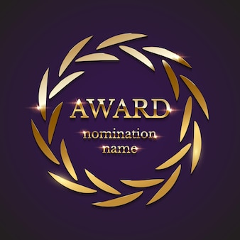 Golden award sign with circle laurel wreath isolated on purple background