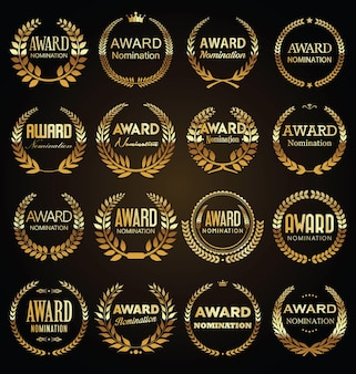 Golden award signs with laurel wreath isolated