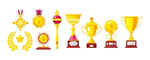 황금 상, 트로피, 컵, 메달, 월계관, 왕관과 홀, 마법의 램프 세트. 금 금속 보물. 성취 경쟁 리더십 영예. 승리의 성공 만화 벡터