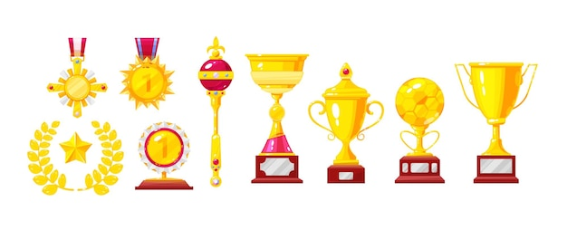 Golden award, trophy, cup, medal, laurel wreath, king crown and scepter, magic lamp set. gold metallic treasure. achievement competition leadership honor. winning success cartoon vector