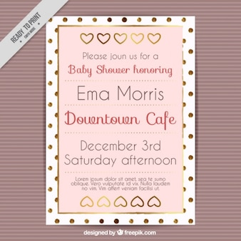Golden baby shower invitation with dots and hearts Free Vector