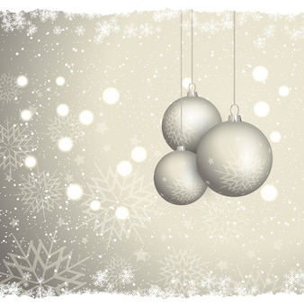 Golden background of christmas balls and snowflakes