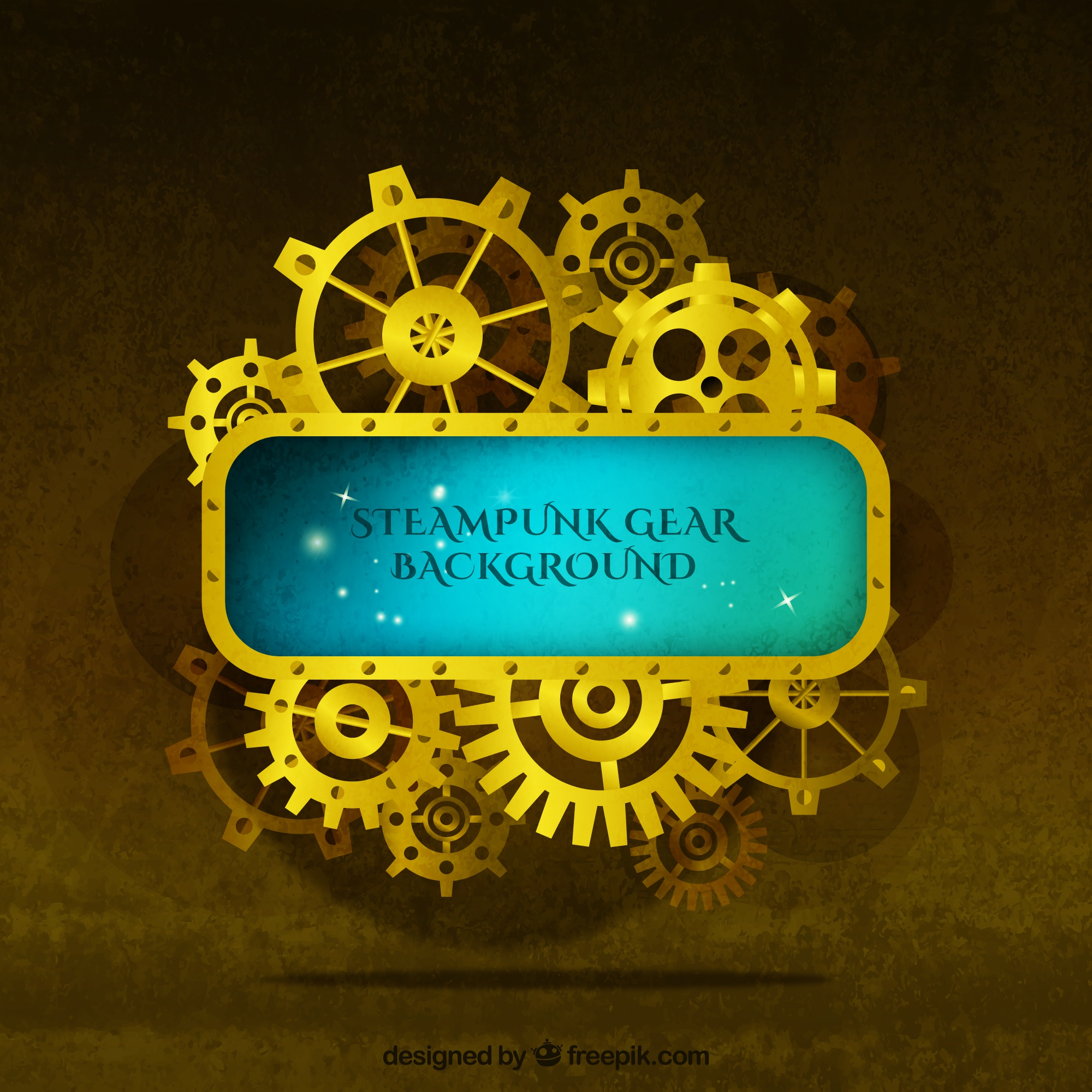 Golden background of gears in vintage style