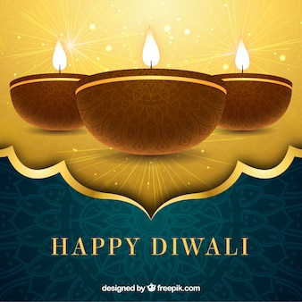 Golden background of happy diwali