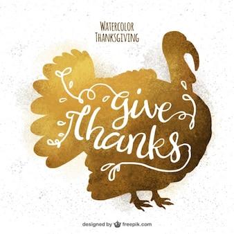 Golden background of thanksgiving turkey silhouette