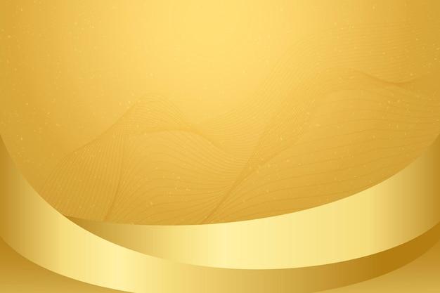 금속 파와 황금 배경 벡터