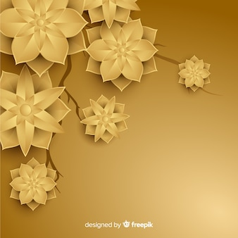 Golden background with 3d flowers
