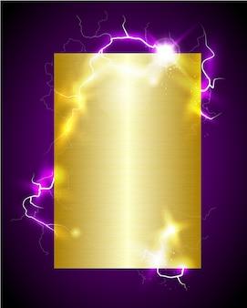 Golden background with discharge lightning bolt.