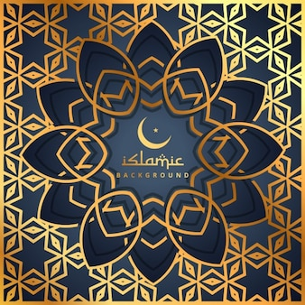 Golden background with islamic flower