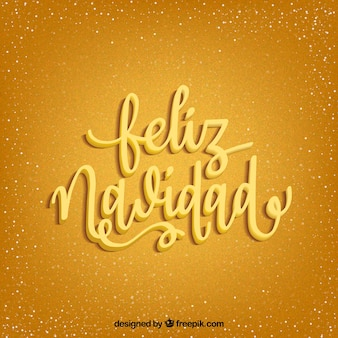 Golden background with merry christmas lettering