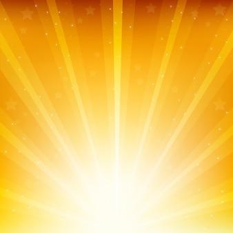 Золотой фон с солнечных лучей и звезд
