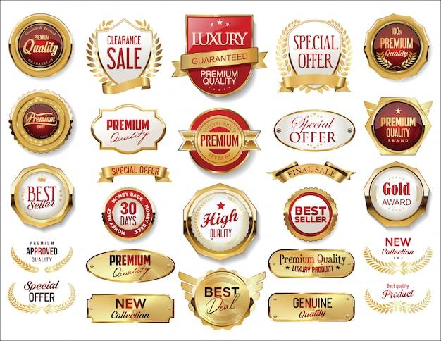 Золотой значок и этикетки ретро винтаж коллекция