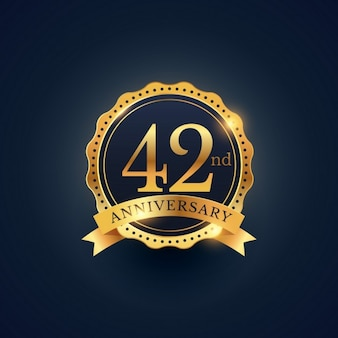 Golden badge for the 42nd anniversary