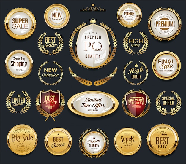 Golden badge labels and laurel retro vintage collection