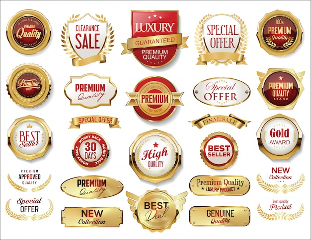 Golden badge and labels retro vintage collection