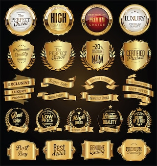 Golden badges and labels retro vintage design collection