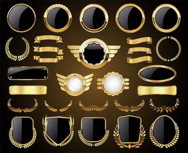 Golden badges labels shields and laurel wreaths collection