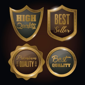 Набор золотых значков