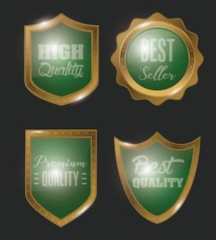 Golden badges set