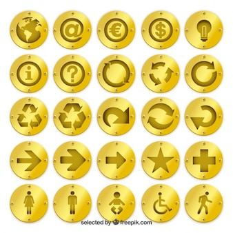 Golden badges with icons