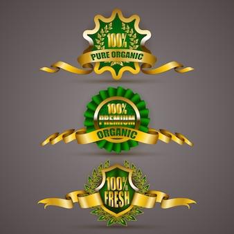 Golden badges with ribbon set