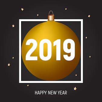 황금 공, 새해 복 많이 받으세요 2019 인사말 카드