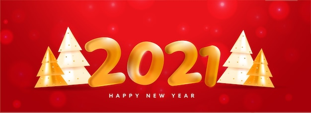 Golden balloon 2021 number with 3d glossy xmas trees on red bokeh background for happy new year.