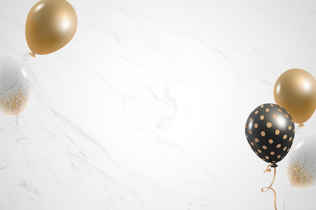 Golden balloons festive white marble background