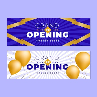 Golden balloons grand re-opening banner template
