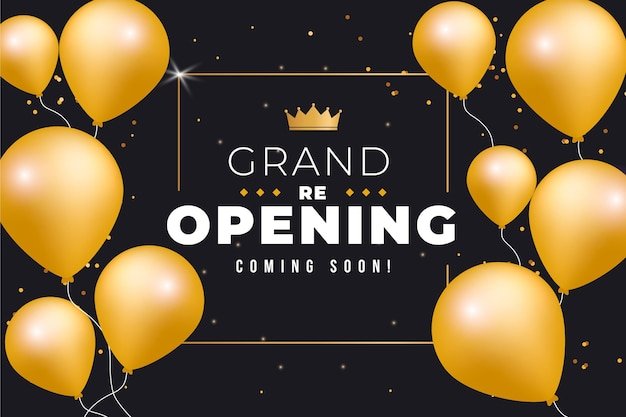 Golden balloons grand re-opening soon background