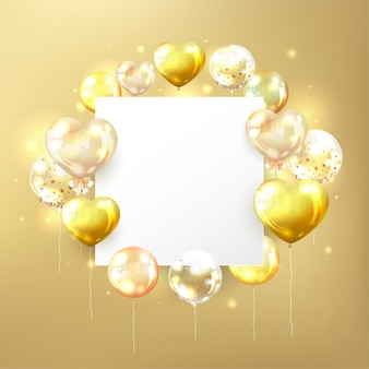 Golden balloons with white copy space in square shape