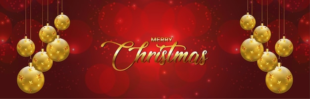 Golden balls and text effect for merry christmas banner