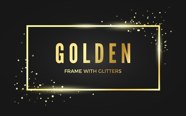 Golden banner frame with shiny sparcles. gold frame with space for text. isolated on dark background