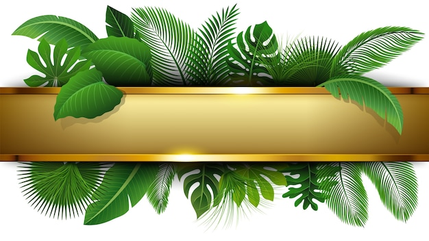 Golden banner with text space of tropical leave