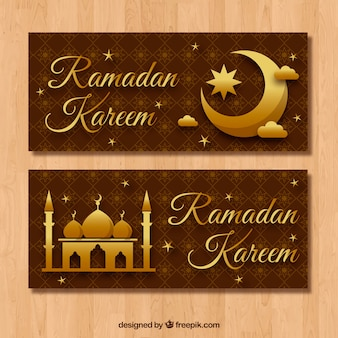Golden banners of ramadan kareem