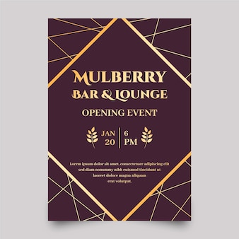 Golden bar and lounge poster template