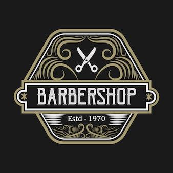 Golden barbershop logo template