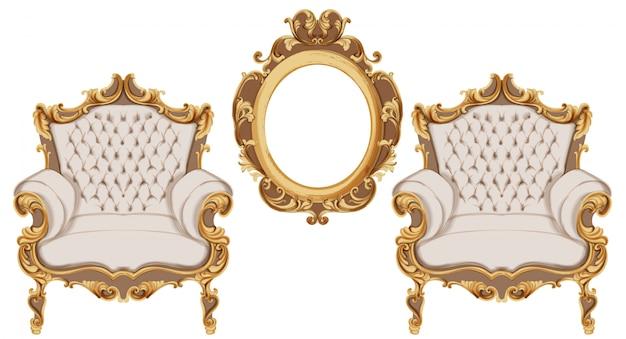 황금 바로크 안락 의자. 고급스러운 가구. 빅토리아 풍의 장식품 장식